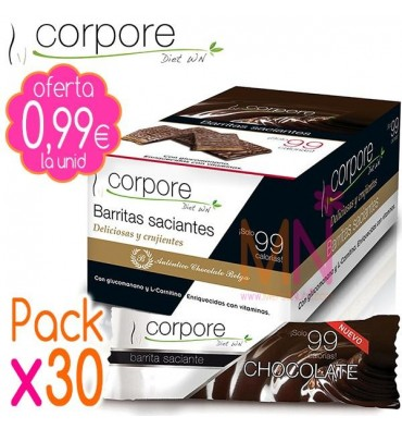 Pack x30 Barritas Saciantes Multivitaminadas sabor Chocolate 20g