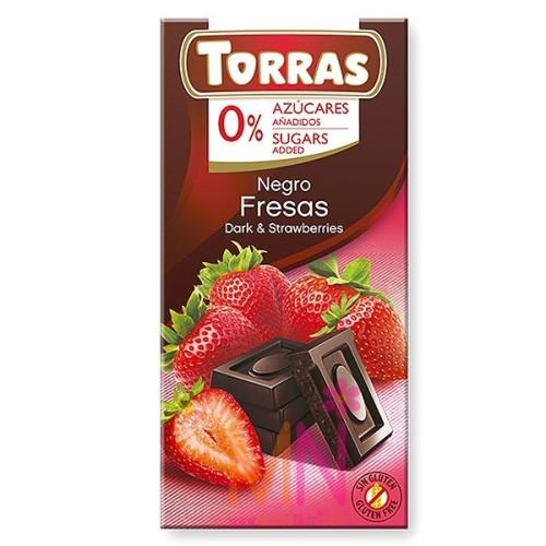 Chocolate negro con Fresas sin azúcar - 75g