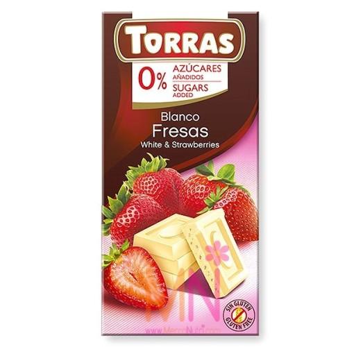 Chocolate blanco con Fresas sin azúcar - 75g