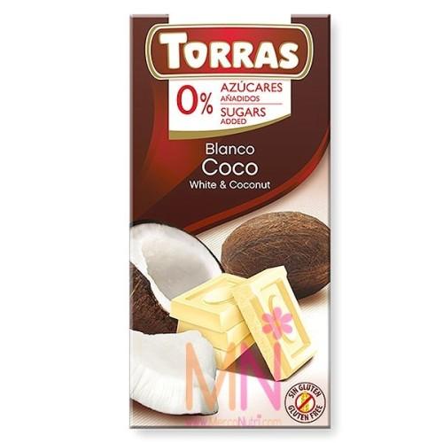 Chocolate blanco con Coco sin azúcar - 75g