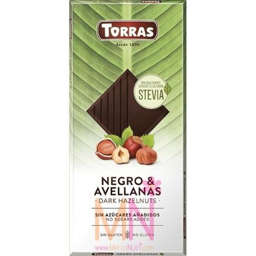 Chocolate negro con Stevia y avellanas  125 g