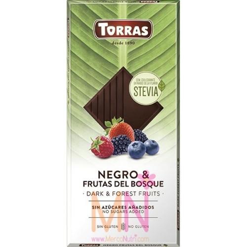 Chocolate negro Stevia con frutas del bosque 125g
